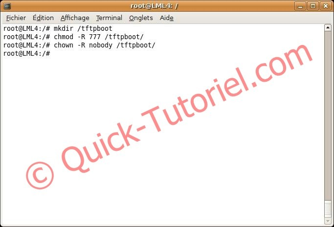 création d'un répertoire tftpboot sous Ubuntu