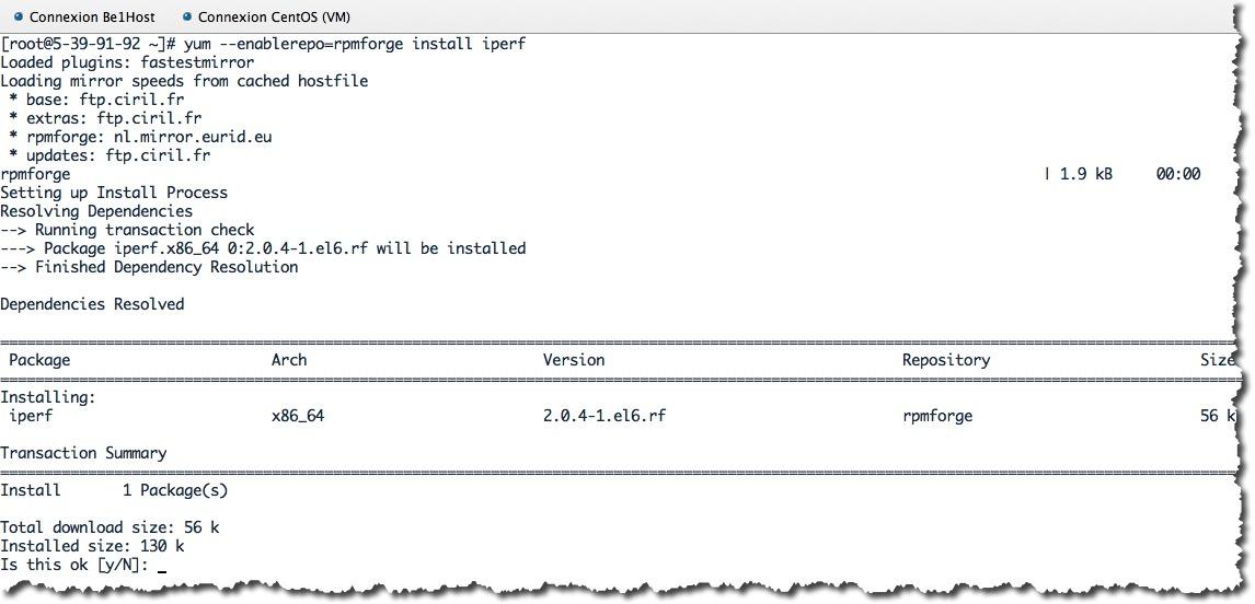 Installer iperf sous CentOS